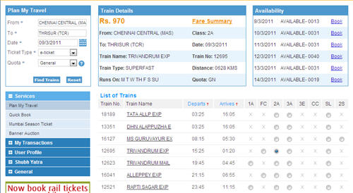 Irctc Seat Availability And Train Fare Enquiry India