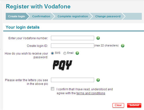 vodafone bill payment registration
